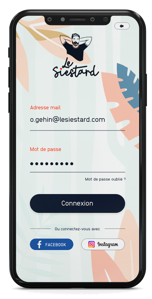 application page de connexion